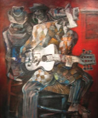 Ramón Oviedo (1934- ), Trío Cacique, S/F, Oleo, 153 x 127 cm
