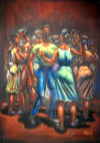 Radhamés Mejía (1925-1977), Baile, 1960, Pastel, 63 x 47 cm