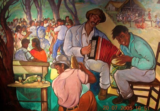 Yoryi Morel (1906-1979), Fiesta Campesina, 1959, Oleo, 106 x 160 cm [Foto Patricia Leal]