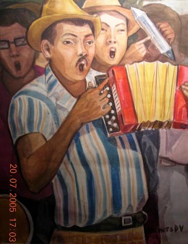 Jacinto Domínguez (1935- ), Músicos, SF, Acuarela, 49 x 36.5 cm