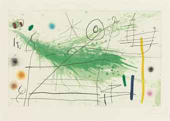 Joan MiroPartie de Campagne III (D. 432)etching with aquatint in colours, 1967, on Mandeure wove paper, signed in pencil, numbered 9/75, published by Maeght, Paris, the full sheet, a deckle edge below, a few minor nicks and tears at the lower sheet edge, a crease at the upper left sheet edge, generally in good conditionP. 585 x 925 mm., S. 743 x 1045 mm.