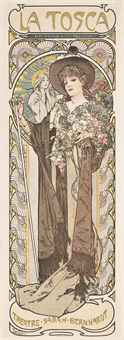 Alphonse Mucha (1860-1939)LA TOSCAlithograph in colours, 1899, printed by F.Champenois, Paris, condition A; backed on japan40 x 14½in. (102 x 37cm.) SALE 8843 — Lot 110VINTAGE POSTERS / 23 May 2013London, South KensingtonPrice Realized £4,375 ($6,567 )