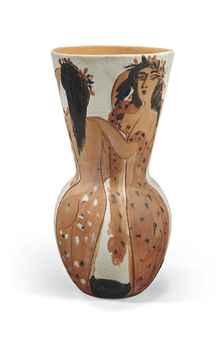 Pablo Picasso (1881-1973) Grand vase aux femmes voilées (Alain Ramié 116; Georges Bloch 21) avec les cachets et numéroté 'MADOURA PLEIN FEU','EMPREINTE ORIGINALE DE PICASSO','11' (à l'intérieur du col) terre cuite peinte et incisée Hauteur: 66 cm. (26 in.) Conçu en 1950 et exécuté dans une édition de 25 exemplaires SALE 3567 — Lot 30 ART IMPRESSIONNISTE ET MODERNE 3 December 2013 Paris Price Realized: €301,500 ($409,161)