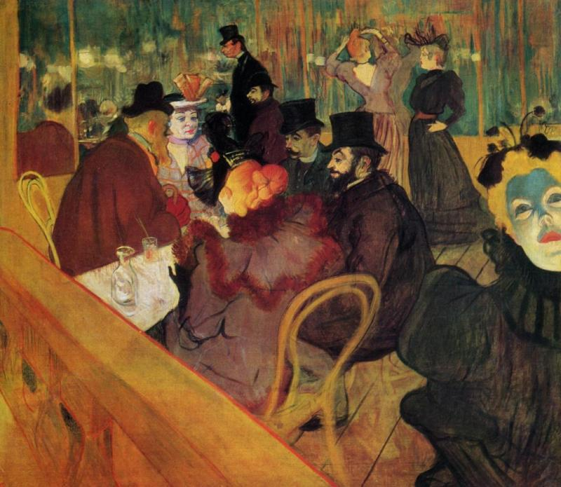 "Henri De Toulouse-Lautrec (1864-1901)<br>At the Moulin Rouge <br>""Next to his cousin Gabriel Tapie de Celeyran, Lautrec lucks in the background of At the Moulin Rouge. La Goulue arranges her hair. The garish figure on the right resembles Mary Milton"" (Toulouse-Lautrec Painter of the Night, Thames & Hudson Ltd., London, pages 52/3, ISBN 978-0-500-30048-0"