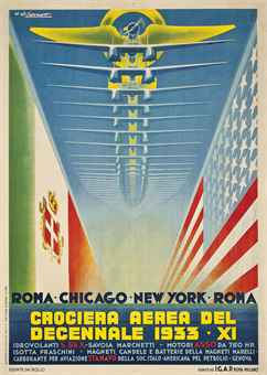 "Umberto di Lazzaro<br>CROCIERA AEREA DEL DECENNALE 1933 - XI<br>lithograph in colours, 1933, printed by I.G.A.P., Roma, condition A-; backed on linen<br>55 x 39½in. (140 x 100cm.) /   SALE <a href=""http://www.christies.com/LotFinder/searchresults.aspx?action=search&amp;intSaleID=24223"">8843 —</a> Lot 141<br> <a href=""http://www.christies.com/LotFinder/searchresults.aspx?action=search&amp;intSaleID=24223"">VINTAGE POSTERS</a> /  23 May 2013<br> London, South Kensington<br> £11,875 ($17,824)"